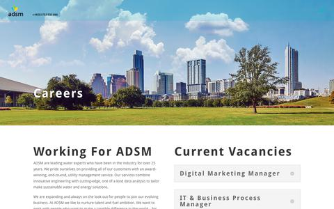 Screenshot of Jobs Page adsm.com - Careers at ADSM | Work In The Water and Utilities Industry | ADSM - captured Oct. 7, 2017