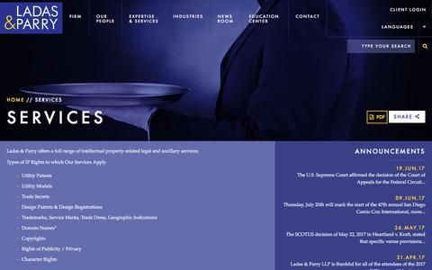 Screenshot of Services Page ladas.com - Services - Ladas & Parry LLP - captured July 12, 2017