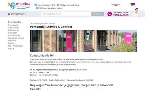 Screenshot of Contact Page maxilia.nl - ᐅ • Contact - Maxilia BV Relatiegeschenken in Rhenen - captured Oct. 17, 2017