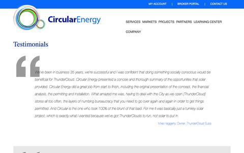 Screenshot of Testimonials Page circularenergy.com - Testimonials | Circular Energy - captured July 4, 2016