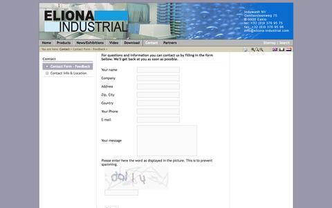 Screenshot of Contact Page eliona-industrial.com - Contact Form - Feedback - captured Oct. 4, 2014