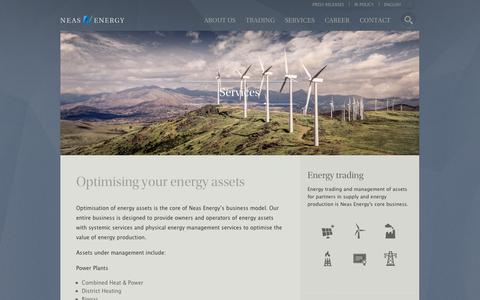 Screenshot of Services Page neasenergy.com - Services - Commodity trading and energy trading with Neas Energy - captured Oct. 7, 2014