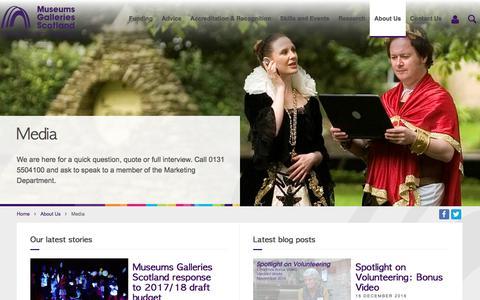 Screenshot of Press Page museumsgalleriesscotland.org.uk - Museums Galleries Scotland   Media - captured Dec. 19, 2016