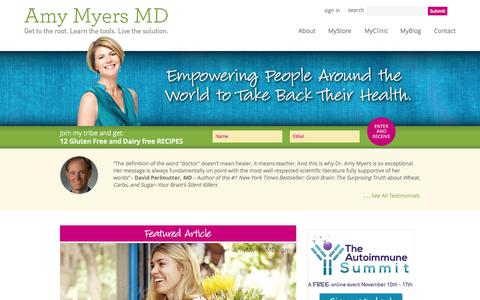 Screenshot of Blog amymyersmd.com - Amy Myers MD - captured Sept. 19, 2014
