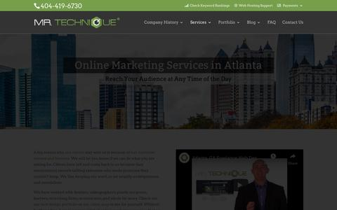 Screenshot of Services Page mrtechnique.com - Online Marketing for Small Businesses in Atlanta, GA - captured Nov. 8, 2018