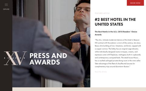 Screenshot of Press Page xvbeacon.com - Press and Awards - XV Beacon - captured Oct. 19, 2018