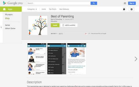 Screenshot of Android App Page google.com - Best of Parenting - Android Apps on Google Play - captured Oct. 23, 2014