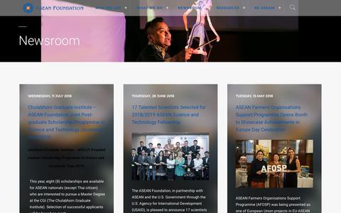 Screenshot of Press Page aseanfoundation.org - Newsroom | ASEAN Foundation - captured July 28, 2018