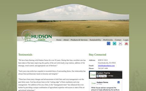 Screenshot of Testimonials Page hudsonfarms.com - Testimonials - Hudson Farms - captured July 23, 2018