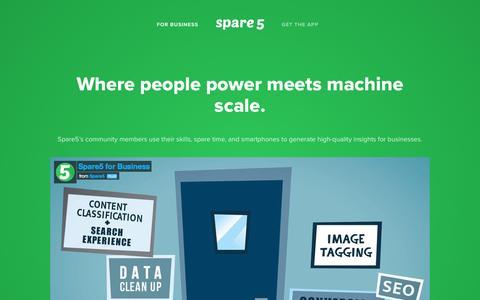Screenshot of Home Page spare5.com - Spare5 - captured Jan. 12, 2016