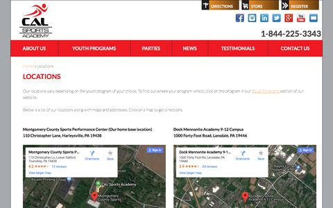 Screenshot of Locations Page Maps & Directions Page calsportsacademy.com - Locations | CAL Sports Academy | Montgomery County - captured July 15, 2018