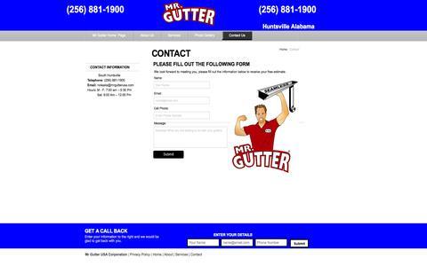 Screenshot of Contact Page mrgutterusa.com - Contact Us - captured Oct. 26, 2014