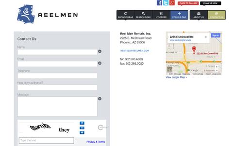 Screenshot of Contact Page Support Page reelmen.com - Contact us - captured Oct. 26, 2014