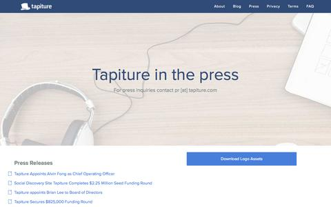 Screenshot of Press Page tapiture.com - Tapiture in the Press - captured Sept. 17, 2014