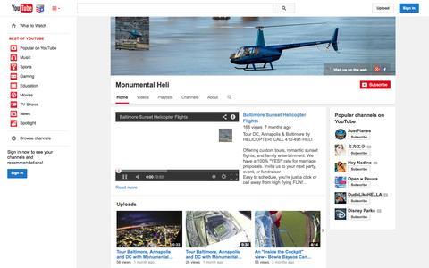 Screenshot of YouTube Page youtube.com - Monumental Heli  - YouTube - captured Nov. 5, 2014