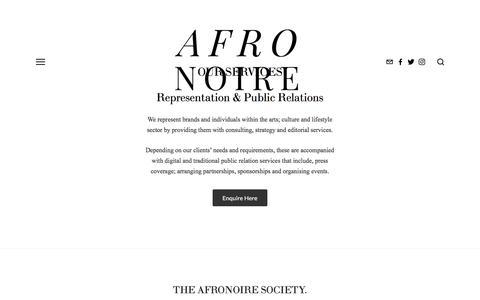 Screenshot of Services Page afronoire.com - Services — AFRONOIRE - captured Nov. 20, 2016