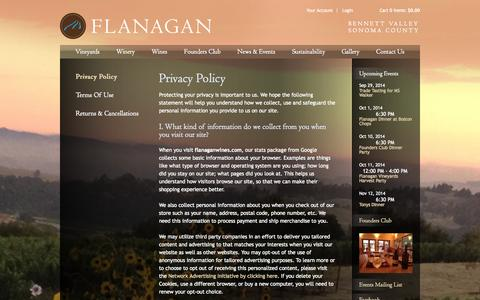 Screenshot of Privacy Page flanaganwines.com - Flanagan Wines - Legal - Privacy Policy - captured Sept. 30, 2014