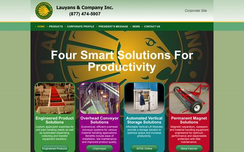 Screenshot of Home Page lauyans.com - Smart Solutions For Productivity | Lauyans Custom Material HandlingLauyans Corporate - captured Oct. 2, 2014