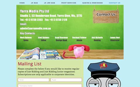Screenshot of Contact Page yarramedia.com.au - yarra-media | Contact Us - captured Nov. 17, 2016