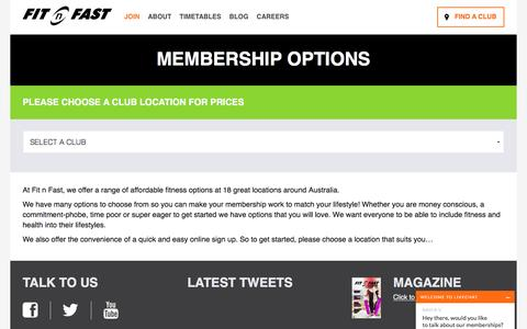 Screenshot of Signup Page fitnfast.com.au - Membership Options | Fit n Fast - captured Aug. 30, 2016