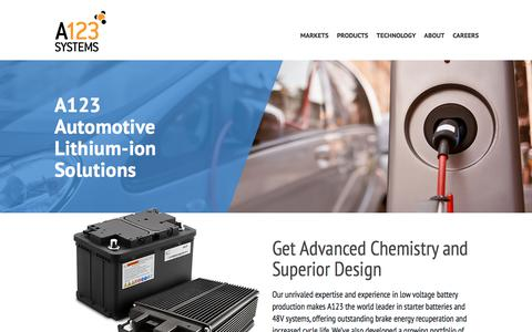 Screenshot of Home Page a123systems.com - A123 Systems - Automotive Lithium-ion Solutions - captured July 12, 2018