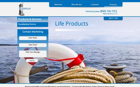 Screenshot of Products Page iaamerican-waco.com - Life Products - captured Oct. 1, 2018
