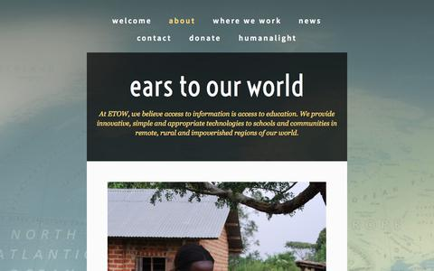 Screenshot of About Page earstoourworld.org - About — ears to our world - captured Oct. 1, 2014