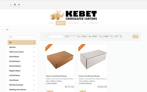 Screenshot of Products Page kebet.com.au - Kebet > Products - captured April 10, 2018