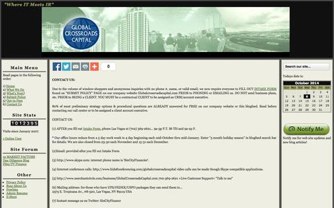 Screenshot of Privacy Page Contact Page globalcrossroadscapital.com - Global Crossroads Capital: Your #1 IR Media Services and Finance Portal in Las Vegas, Nevada - captured Oct. 8, 2014