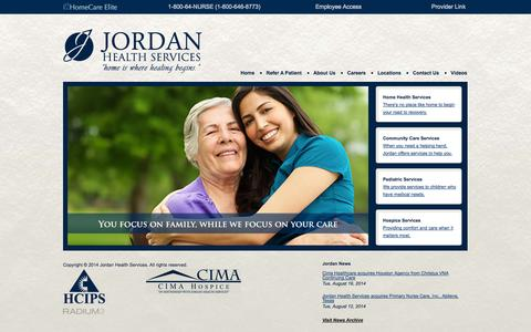 Screenshot of Home Page jhsi.com - Home | Jordan Health Services - captured Sept. 22, 2014