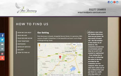 Screenshot of Contact Page pets-sanctuary.com - How to Find Us «  Pets Sanctuary - captured Sept. 29, 2014