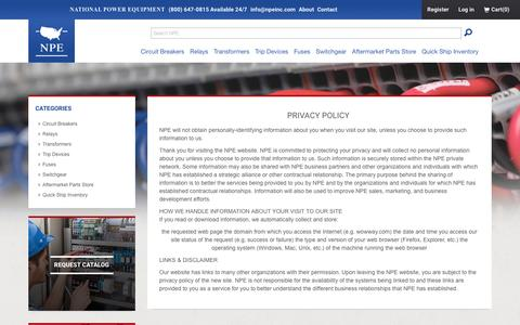 Screenshot of Privacy Page npeinc.com - Privacy policy - captured Dec. 3, 2016