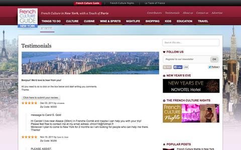 Screenshot of Testimonials Page frenchcultureguide.com - Testimonials « French Culture Guide - captured Oct. 9, 2014