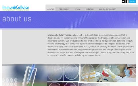 Screenshot of About Page imuc.com - ImmunoCellular Therapeutics, Ltd. is a clinical-stage biotechnology company - captured Sept. 16, 2014