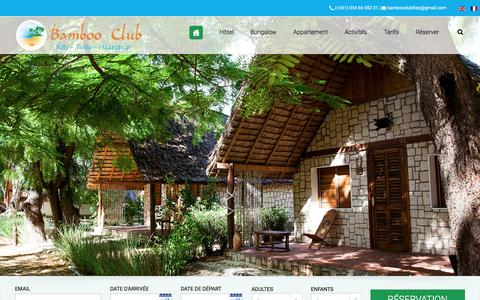 Screenshot of Home Page bamboo-club.com - Bamboo Club Tuléar Ifaty Madagascar - Hôtel Bamboo Club Ifaty Tuléar Madagascar - captured June 3, 2016
