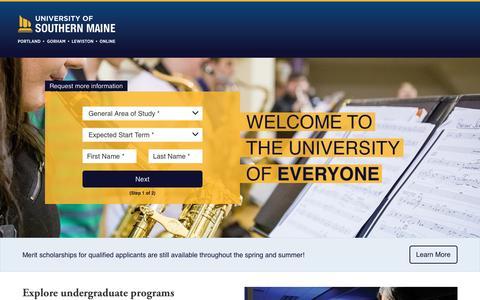Screenshot of Landing Page maine.edu - Undergraduate Degree Programs | University of Southern Maine - captured April 4, 2017