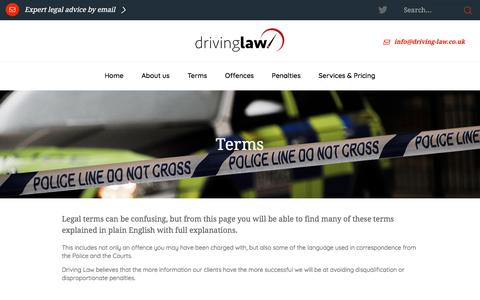 Screenshot of Terms Page driving-law.co.uk - Driving Law | Terms - captured June 26, 2018