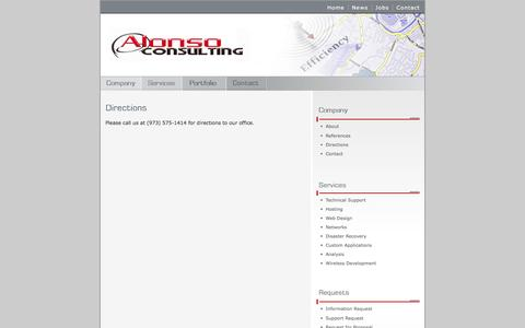 Screenshot of Maps & Directions Page alonso.com - Alonso Consulting - Support, Web Design, Networks - (973) 575-1414 - captured Feb. 5, 2016