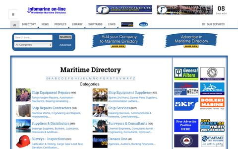 Screenshot of Home Page Terms Page infomarine.gr - Infomarine On-Line Maritime Directory - Directory - captured Nov. 8, 2018