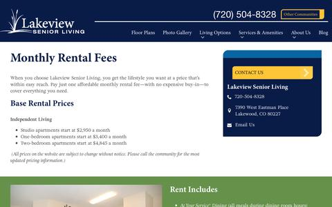 Screenshot of Pricing Page spectrumretirement.com - Monthly Rental Pricing | Lakeview Senior Living - captured Oct. 23, 2018