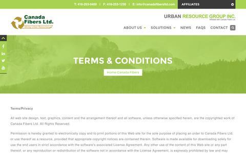 Screenshot of Terms Page canadafibersltd.com - Terms & Conditions - Canada Fibers Ltd. - captured July 10, 2016