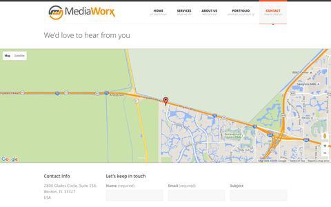 Screenshot of Contact Page themediaw.com - MediaWorx . creative design   interactive   web   video - captured Feb. 12, 2016