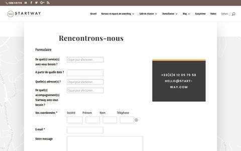 Screenshot of Contact Page start-way.com - 2018 Formulaire - Coworking Ecosystème centre d'affaires bureaux - captured Sept. 21, 2018