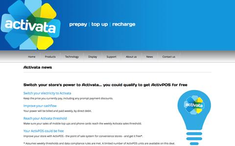 Screenshot of Press Page activata.co.nz - Latest news and the Activata Press - Activata Prepay - New Zealand's no 1 innovator in prepay products and services - captured Oct. 4, 2014