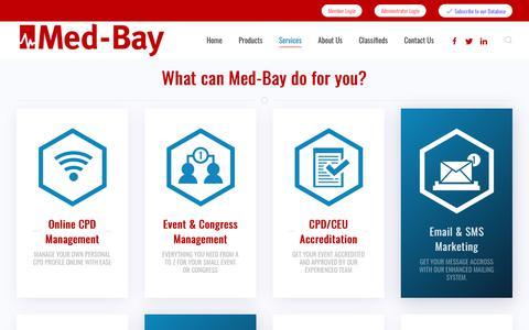 Screenshot of Services Page med-bay.com - Services - Med-Bay.com - captured Sept. 20, 2018