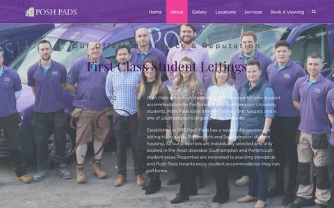 Screenshot of About Page poshpads.com - Posh Pads - Offering Quality Student Lettings Since 1993 - About Us - captured July 20, 2018