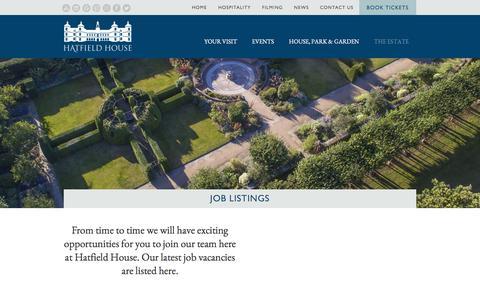 Screenshot of Jobs Page hatfield-house.co.uk - Job Listings | Hatfield House - captured Oct. 6, 2017