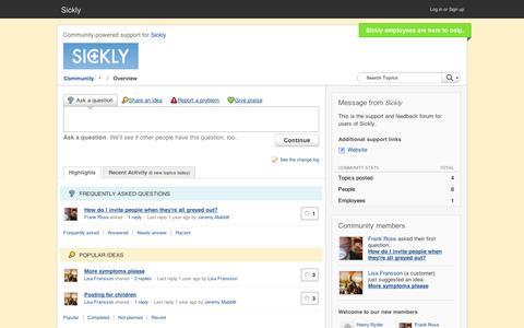 Screenshot of Support Page getsatisfaction.com - Sickly Customer Community - captured Sept. 12, 2014