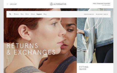 Screenshot of Support Page alternativeapparel.com - Support | Alternative - captured Sept. 23, 2014