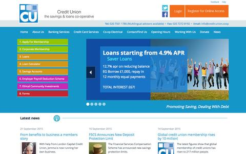Screenshot of Home Page credit-union.coop - London Capital Credit Union - captured Sept. 21, 2015